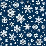 Christmas seamless pattern with white snowflakes falling on dark blue night sky bakground. Vector. Christmas seamless pattern with white snowflakes falling on stock illustration