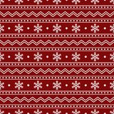 Christmas Seamless Pattern of White Snowflakes and Lines on Red. Backdrop. Continued Winter Background for Cloth, Fabric, Textile, Tissue, Pack Paper, Wrapping Royalty Free Stock Photos