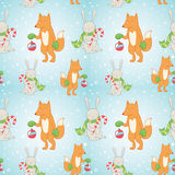Christmas seamless pattern with winter bunny and f Stock Photo