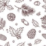 Christmas seamless pattern. Winter fir and pine branches with pine cones. Vintage vector wallpaper in traditional. Engraving style. Illustration of pattern with stock illustration