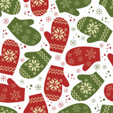 Christmas seamless pattern with winter mittens Stock Photo