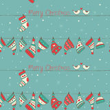 Christmas Seamless Pattern With Birds, Socks And H Stock Photography