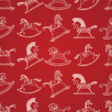 Christmas Seamless Pattern With Rocking Horses Stock Photo