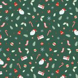 Christmas Seamless Pattern With Santa Claus, Bells, Xmas Ball, Candy Canes, Gift, Socks, Christmas Leaf, Branch Christmas Hand Dra Royalty Free Stock Image