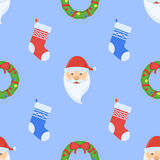 Christmas seamless pattern with wreath, socks and Santa Claus face Royalty Free Stock Photos