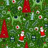 Christmas seamless pattern with xmas toys Stock Photos