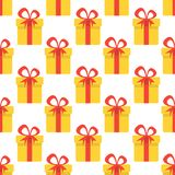 Christmas seamless pattern with yellow gift boxes. Christmas background. Vector illustration.  Stock Photos