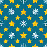 Christmas seamless pattern. With yellow stars and snowflakes Stock Photography