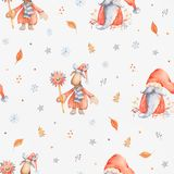 Christmas Seamless patternd with Cute cartoon character - Christ. Christmas Seamless pattern with Cute cartoon character - Christmas moose and gnome with long royalty free illustration