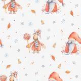 Christmas Seamless patternd with Cute cartoon character - Christ. Mas moose and gnome with long beard and red hat. Winter wrapping paper with scandinavian vector illustration