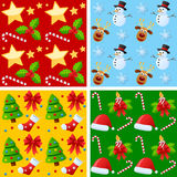 Christmas Seamless Patterns. Collection of four Christmas seamless backgrounds, useful also as design elements for textures, patterns or gift wrap. Eps file Royalty Free Stock Images