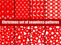 Christmas seamless patterns. Christmas trees, snowflakes and toys. Vector Royalty Free Stock Photos