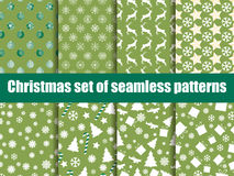 Christmas seamless patterns. Christmas trees, snowflakes and toys. Vector Royalty Free Stock Photo