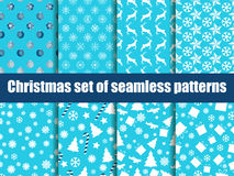 Christmas seamless patterns. Christmas trees, snowflakes and toys. Vector Royalty Free Stock Image