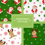 Christmas seamless patterns with cute deers and santas. vector illustration