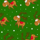 Christmas seamless patterns with cute deers and snow. royalty free illustration
