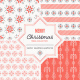 Christmas seamless patterns with outlined holiday and winter signs. Stock Photo