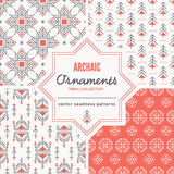 Christmas seamless patterns with outlined holiday and winter signs. Stock Images