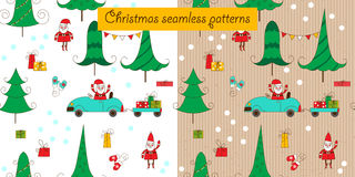 Christmas seamless patterns with Santa and a car. Royalty Free Stock Image