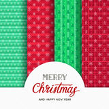 Christmas seamless patterns. Set of different vector backgrounds. Merry Christmas and Happy New Year text Stock Photos