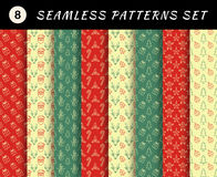 Christmas seamless patterns set. Geometric textures. Abstract backgrounds. Stock Images