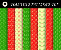 Christmas seamless patterns set. Geometric textures. Abstract backgrounds. Backdrop mobile smart phone tablet desktop wallpaper banner web design element scrap stock illustration