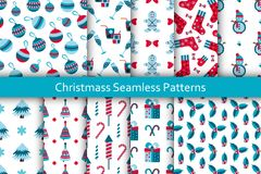 Christmas seamless patterns set with many winter doodle toys. Vector illustration. Royalty Free Stock Photo