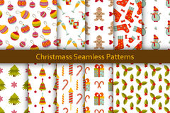 Christmas seamless patterns set with many winter doodle toys Stock Images