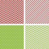Christmas seamless patterns. Set of minimal backgrounds for decoration in traditional Christmas colors. Christmas seamless patterns. Set of vector minimal Stock Photo