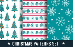 Christmas seamless patterns set with snowflakes, trees and decor. Ations. Cartoon backgrounds for prints, textile, gifts etc. Vector illustration Vector Illustration