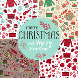 Christmas seamless patterns set vector Royalty Free Stock Photo