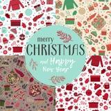 Christmas seamless patterns set vector stock illustration