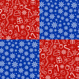 Christmas seamless patterns set Stock Photo