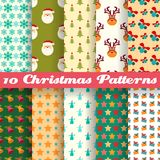 Christmas seamless patterns (tiling). Vector. 10 Christmas seamless patterns (tiling). Vector illustration for your abstract funny holiday design. Endless Royalty Free Stock Images