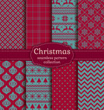 Christmas Seamless Patterns. Vector Set. Stock Photos
