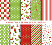 Christmas seamless patterns vector set. Backgrounds for christmas design Royalty Free Stock Image