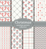 Christmas seamless patterns. Vector set. Merry Christmas and Happy New Year! Set of seamless backgrounds with traditional symbols: bells, candy cane, christmas Royalty Free Stock Photo
