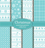Christmas seamless patterns. Vector set. Merry Christmas and Happy New Year! Set of seamless backgrounds with winter holiday symbols: candy cane, xmas tree Stock Images
