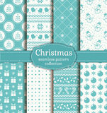 Christmas seamless patterns. Vector set. Merry Christmas and Happy New Year! Set of vector seamless backgrounds with winter holiday symbols: candy cane, xmas Royalty Free Stock Photography