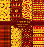 Christmas seamless patterns. Vector set. Merry Christmas and Happy New Year! Seamless backgrounds set with xmas tree, deer, holly, christmas light, bells Royalty Free Stock Photo