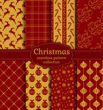 Christmas seamless patterns. Vector set. Merry Christmas and Happy New Year! Set of chic seamless backgrounds with holiday symbols: deer, tree balls, candy cane Royalty Free Stock Images