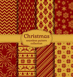 Christmas seamless patterns. Vector set. Merry Christmas and Happy New Year! Set of chic seamless backgrounds with traditional holiday symbols: deer, tree ball Stock Photos