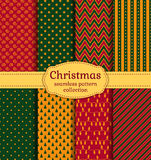 Christmas seamless patterns. Vector set. Royalty Free Stock Photo