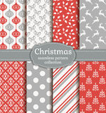 Christmas seamless patterns. Vector set. Stock Photo