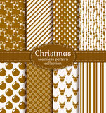 Christmas seamless patterns. Vector set. Merry Christmas and Happy New Year! Set of holiday backgrounds. Collection of seamless patterns with gold and white Royalty Free Stock Photo