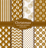 Christmas seamless patterns. Vector set. Merry Christmas and Happy New Year! Set of holiday backgrounds. Collection of seamless patterns with gold and white Stock Images