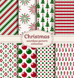 Christmas seamless patterns. Vector set. Merry Christmas and Happy New Year! Set of holiday backgrounds. Collection of seamless patterns with red, green and Royalty Free Stock Images