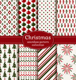 Christmas seamless patterns. Vector set. Merry Christmas and Happy New Year! Set of  holiday backgrounds. Collection of seamless patterns with red, green and Stock Photos
