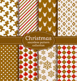 Christmas seamless patterns. Vector set. Merry Christmas and Happy New Year! Set of holiday backgrounds. Collection of seamless patterns with white, red and Royalty Free Stock Image