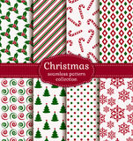 Christmas seamless patterns. Vector set. Royalty Free Stock Images